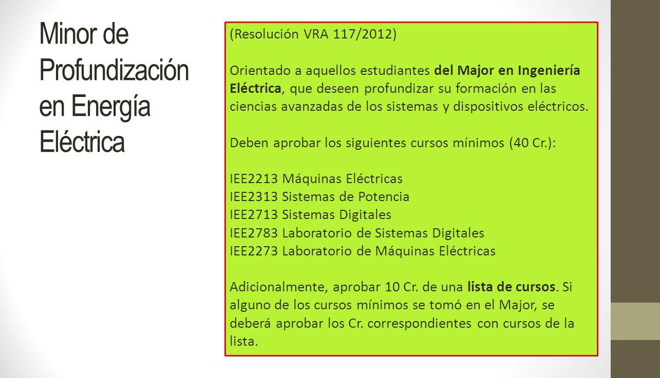 Minor de Profundización en Energía Eléctrica