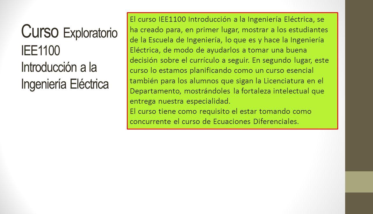Curso Exploratorio IEE1100 Introducción a la Ingeniería Eléctrica