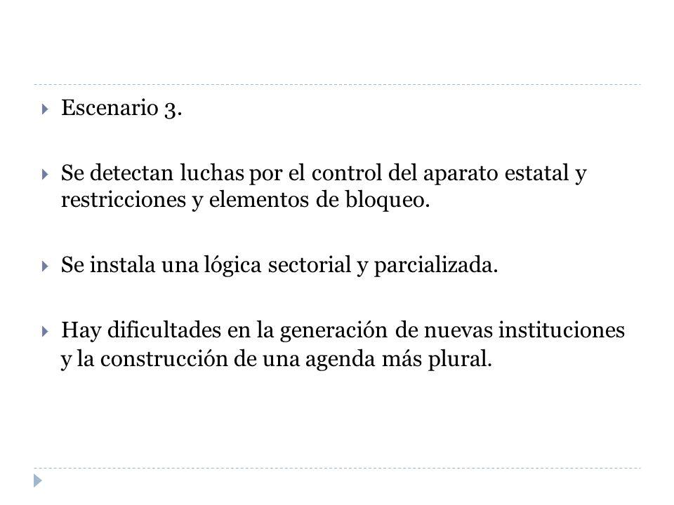 Escenario 3. Se detectan luchas por el control del aparato estatal y restricciones y elementos de bloqueo.