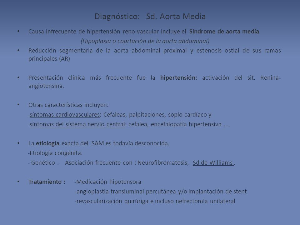 Diagnóstico: Sd. Aorta Media