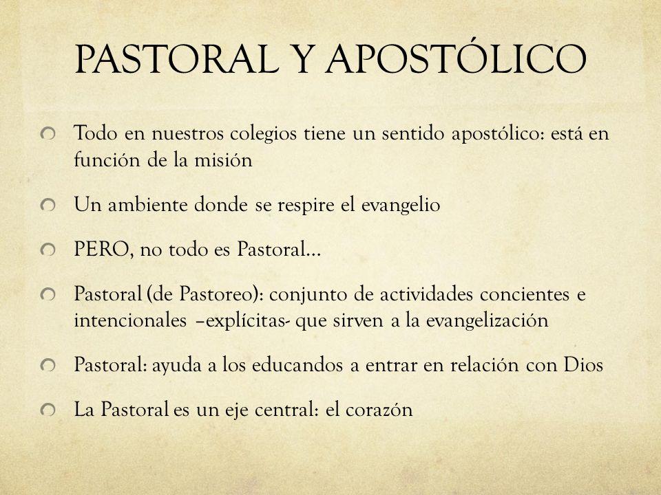 PASTORAL Y APOSTÓLICO Todo en nuestros colegios tiene un sentido apostólico: está en función de la misión.