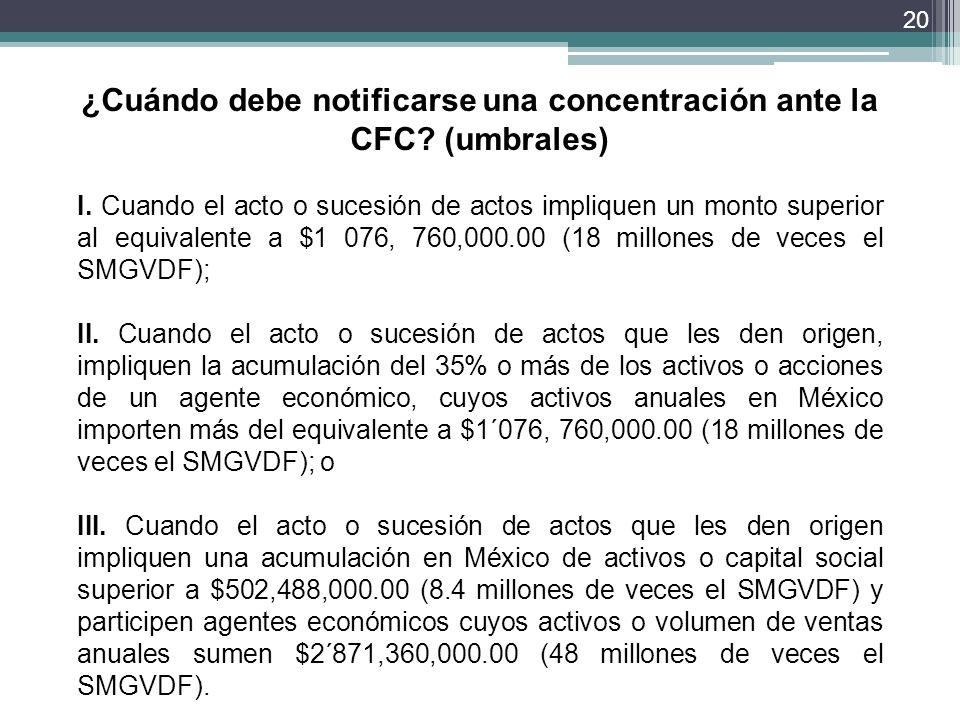 ¿Cuándo debe notificarse una concentración ante la CFC (umbrales)