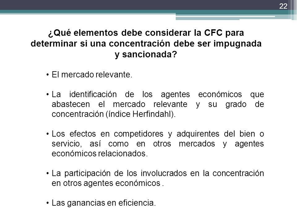 ¿Qué elementos debe considerar la CFC para determinar si una concentración debe ser impugnada y sancionada