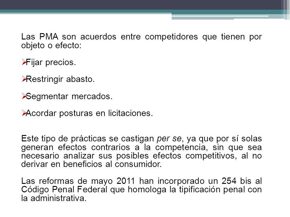 Las PMA son acuerdos entre competidores que tienen por objeto o efecto: