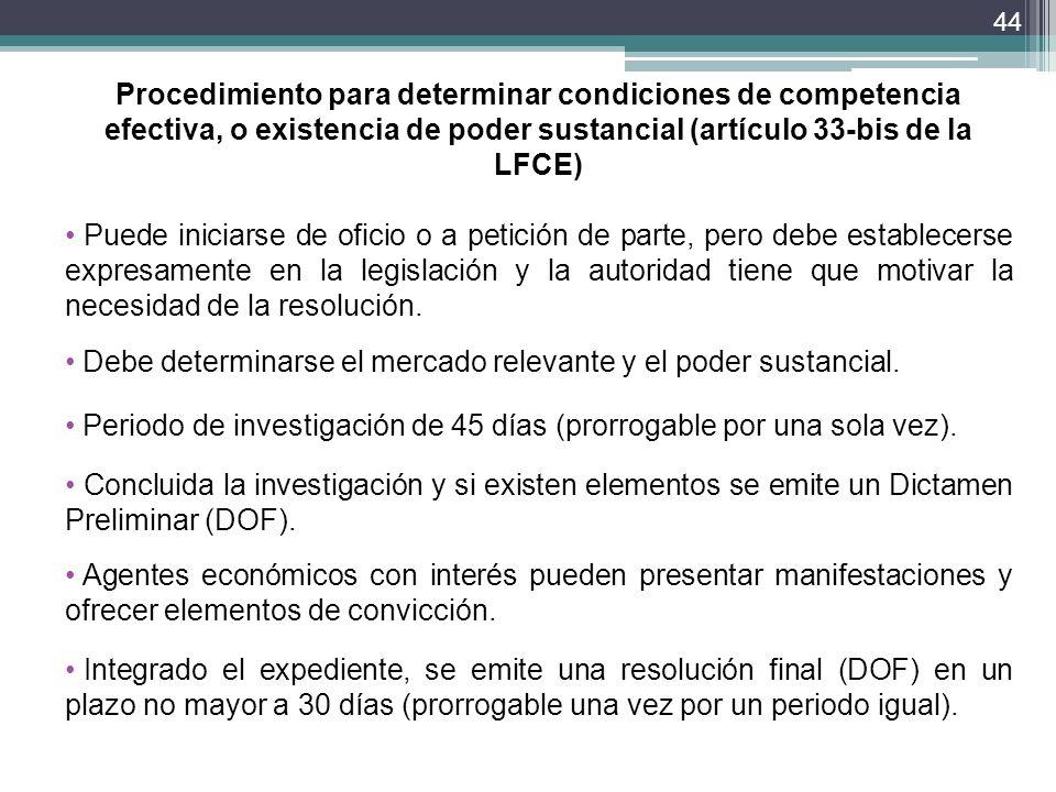 Procedimiento para determinar condiciones de competencia efectiva, o existencia de poder sustancial (artículo 33-bis de la LFCE)