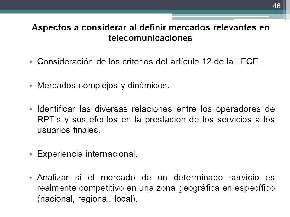 Aspectos a considerar al definir mercados relevantes en telecomunicaciones