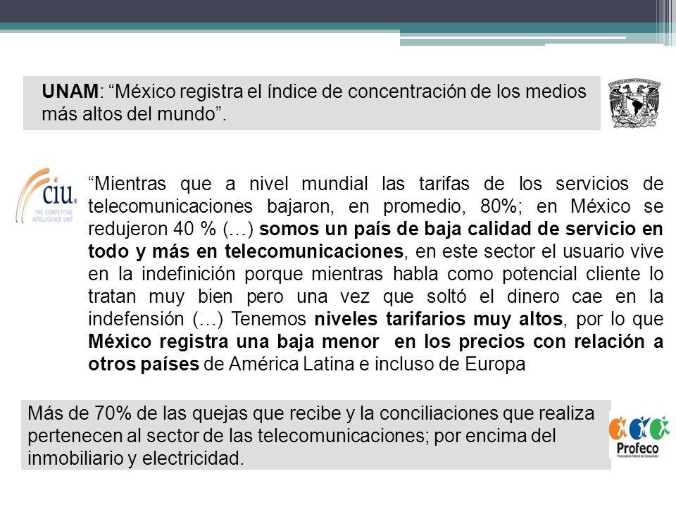UNAM: México registra el índice de concentración de los medios más altos del mundo .
