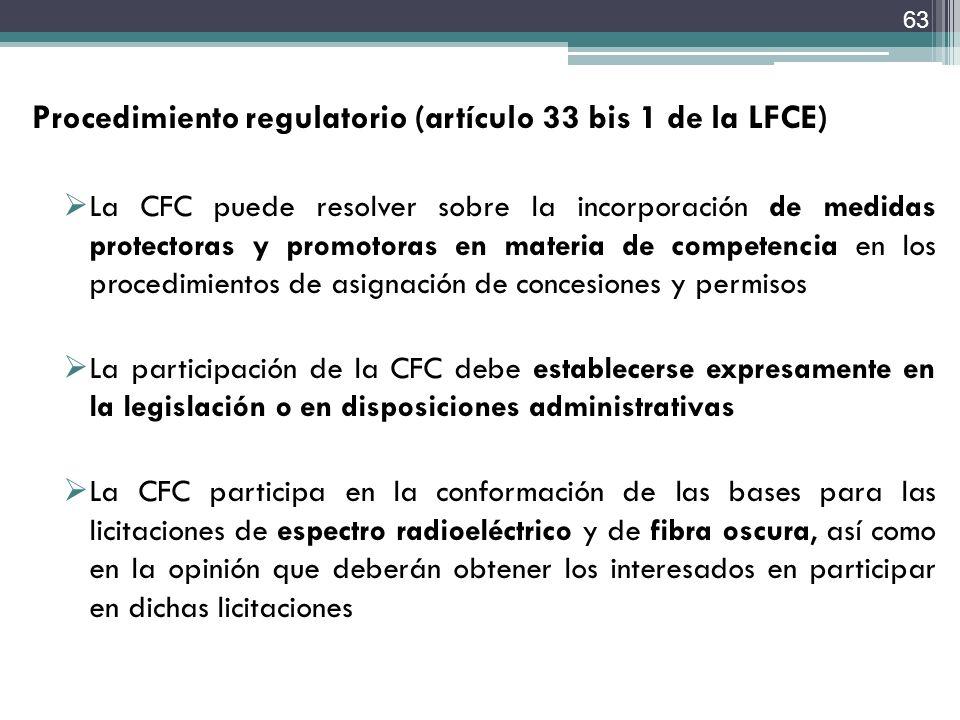Procedimiento regulatorio (artículo 33 bis 1 de la LFCE)