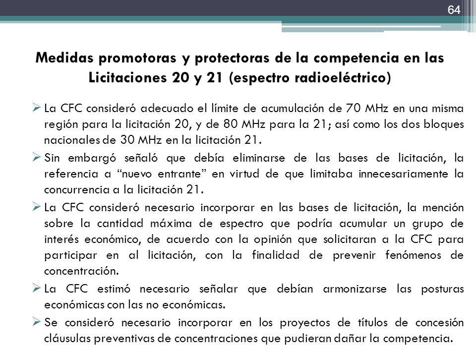 Medidas promotoras y protectoras de la competencia en las Licitaciones 20 y 21 (espectro radioeléctrico)
