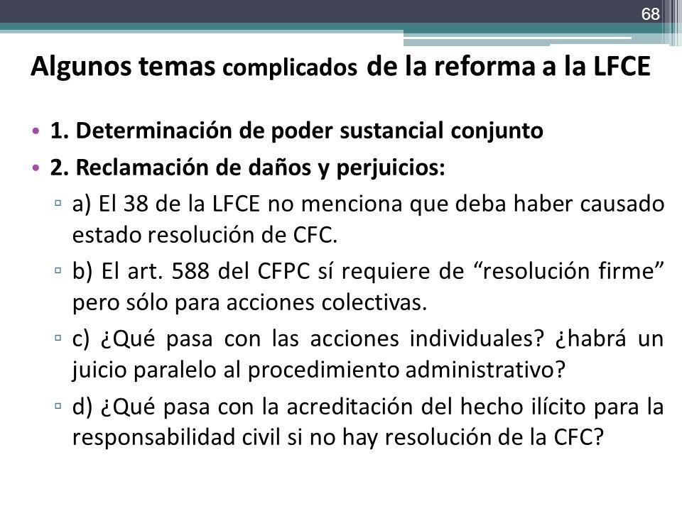 Algunos temas complicados de la reforma a la LFCE