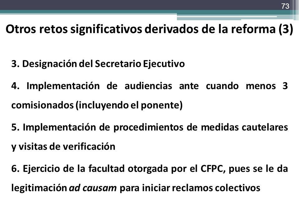 Otros retos significativos derivados de la reforma (3)