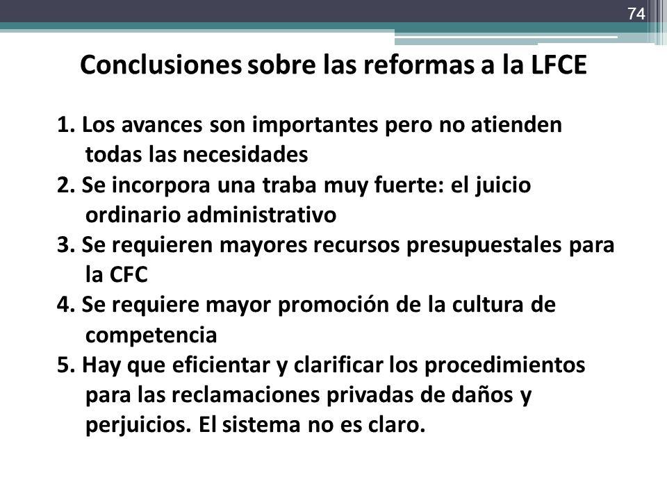 Conclusiones sobre las reformas a la LFCE