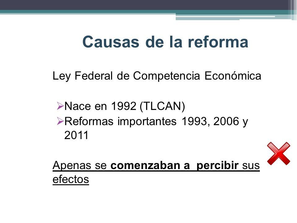 Causas de la reforma Ley Federal de Competencia Económica
