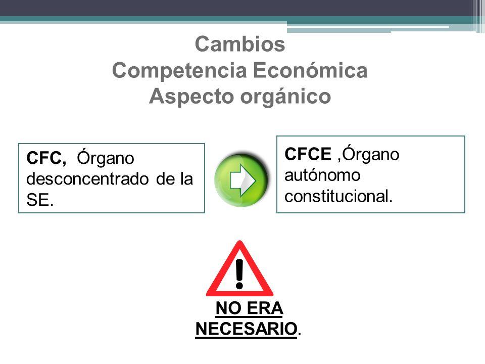 Cambios Competencia Económica Aspecto orgánico
