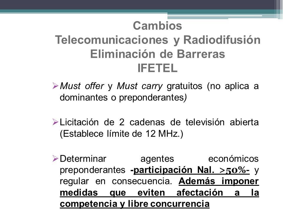 Cambios Telecomunicaciones y Radiodifusión Eliminación de Barreras IFETEL