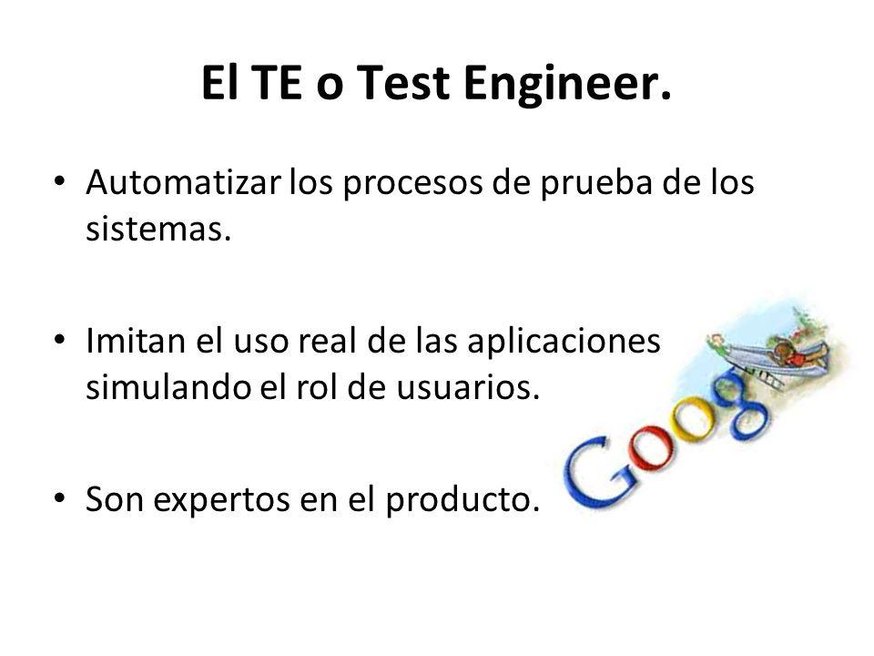 El TE o Test Engineer. Automatizar los procesos de prueba de los sistemas. Imitan el uso real de las aplicaciones simulando el rol de usuarios.