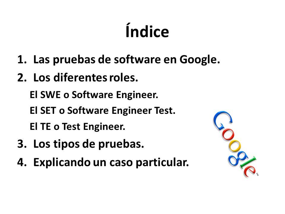Índice Las pruebas de software en Google. Los diferentes roles.