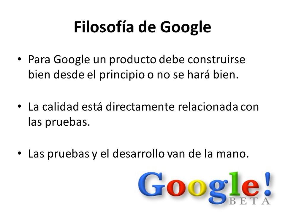 Filosofía de Google Para Google un producto debe construirse bien desde el principio o no se hará bien.