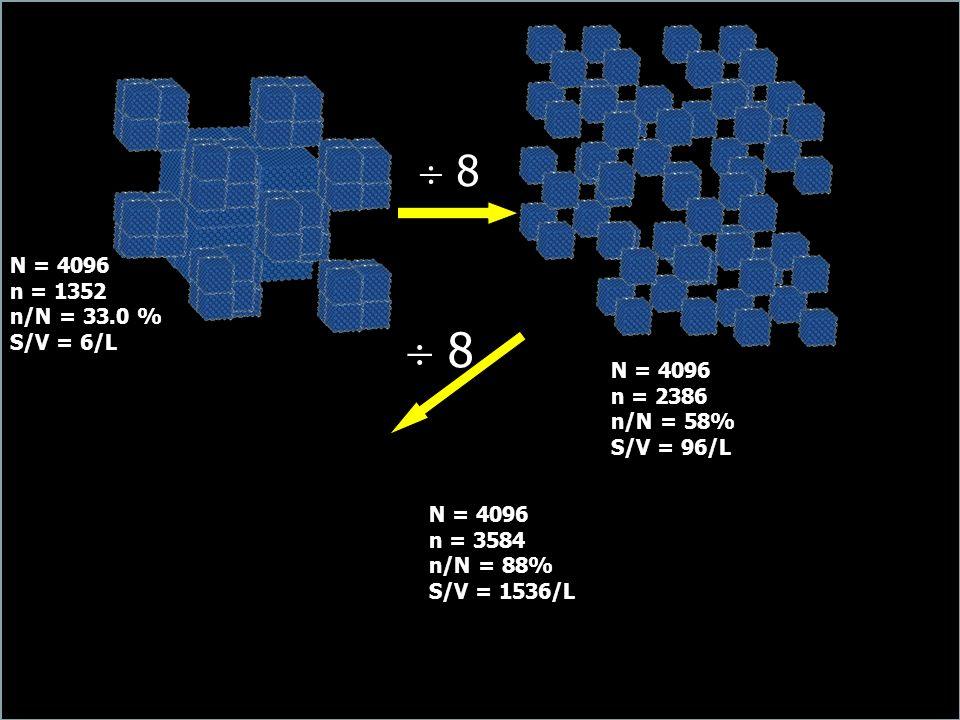  8  8 N = 4096 n = 1352 n/N = 33.0 % S/V = 6/L N = 4096 n = 2386