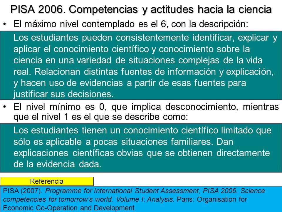 PISA 2006. Competencias y actitudes hacia la ciencia