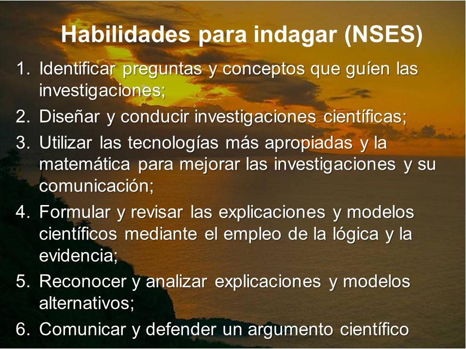 Habilidades para indagar (NSES)