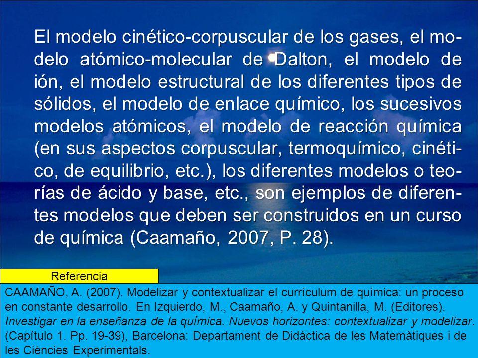 El modelo cinético-corpuscular de los gases, el mo-delo atómico-molecular de Dalton, el modelo de ión, el modelo estructural de los diferentes tipos de sólidos, el modelo de enlace químico, los sucesivos modelos atómicos, el modelo de reacción química (en sus aspectos corpuscular, termoquímico, cinéti-co, de equilibrio, etc.), los diferentes modelos o teo-rías de ácido y base, etc., son ejemplos de diferen-tes modelos que deben ser construidos en un curso de química (Caamaño, 2007, P. 28).