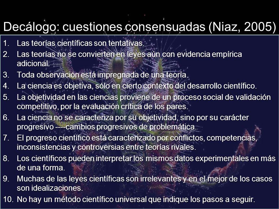 Decálogo: cuestiones consensuadas (Niaz, 2005)