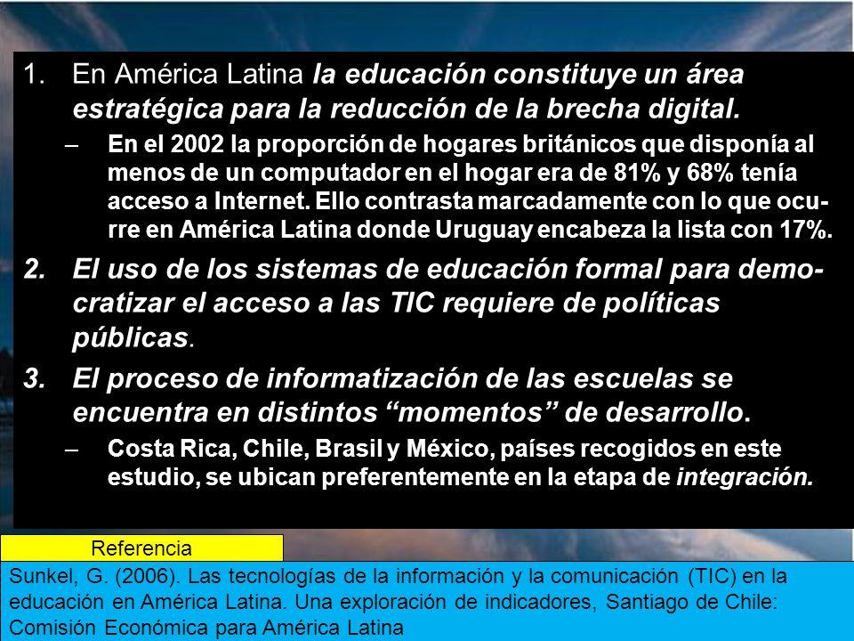 En América Latina la educación constituye un área estratégica para la reducción de la brecha digital.