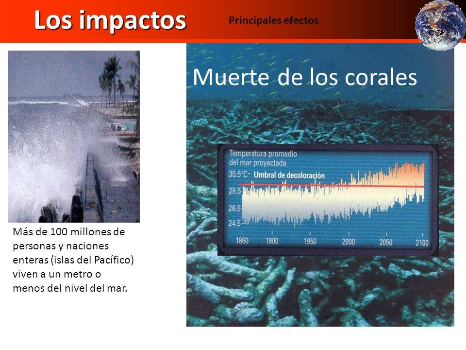 Los impactos Muerte de los corales Temperatura Principales efectos