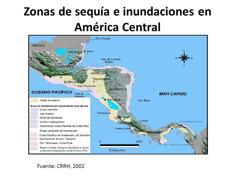 Zonas de sequía e inundaciones en América Central