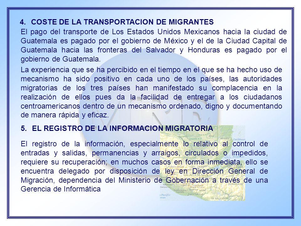 COSTE DE LA TRANSPORTACION DE MIGRANTES