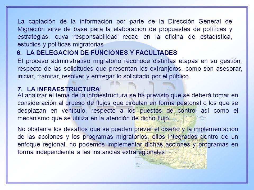 La captación de la información por parte de la Dirección General de Migración sirve de base para la elaboración de propuestas de políticas y estrategias, cuya responsabilidad recae en la oficina de estadística, estudios y políticas migratorias