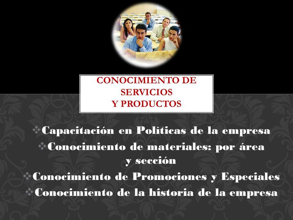 Conocimiento de Servicios y Productos