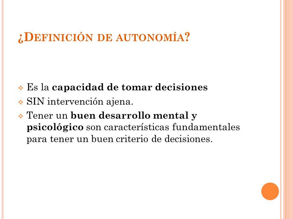 ¿Definición de autonomía