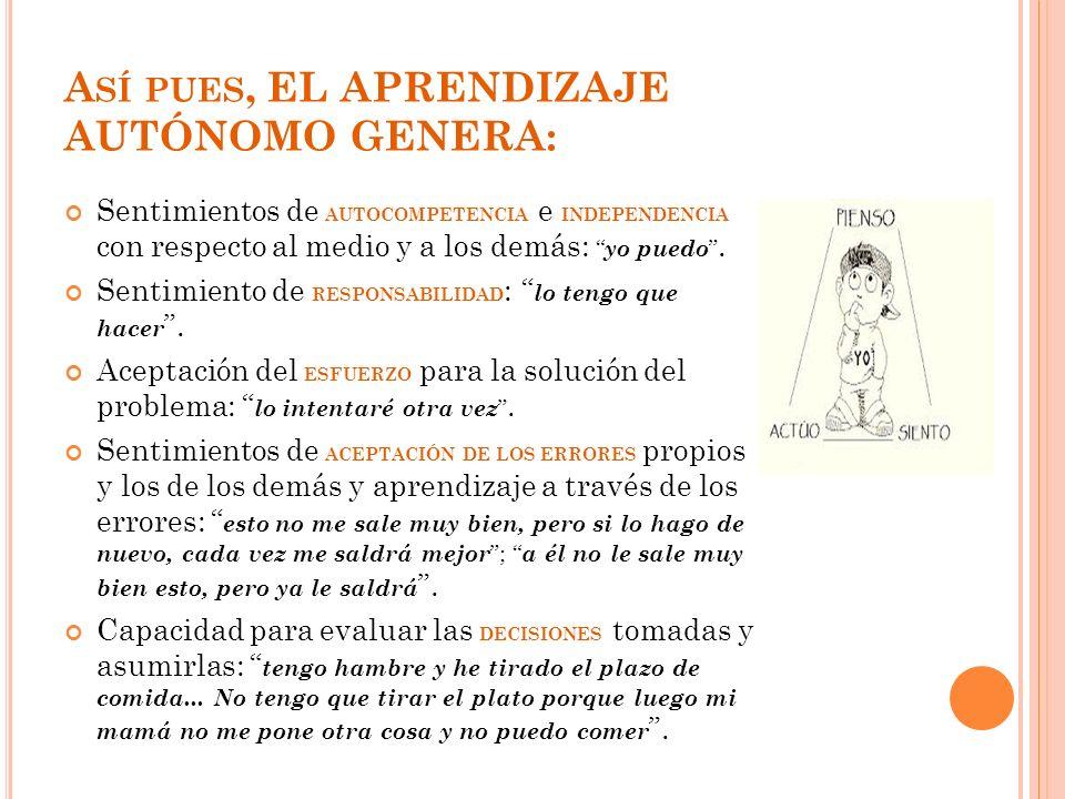 Así pues, EL APRENDIZAJE AUTÓNOMO GENERA: