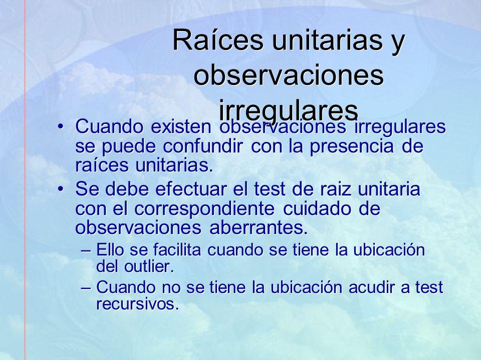 Raíces unitarias y observaciones irregulares