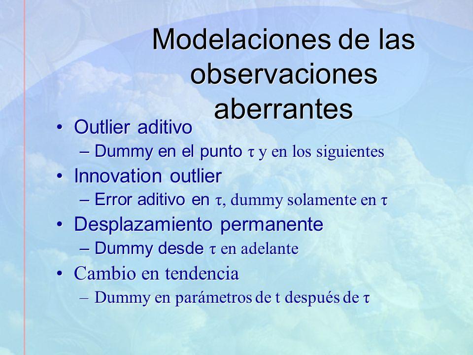 Modelaciones de las observaciones aberrantes