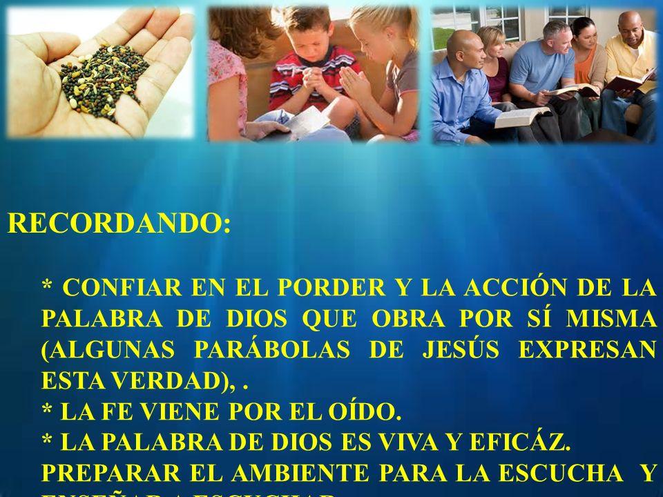 RECORDANDO: * CONFIAR EN EL PORDER Y LA ACCIÓN DE LA PALABRA DE DIOS QUE OBRA POR SÍ MISMA (ALGUNAS PARÁBOLAS DE JESÚS EXPRESAN ESTA VERDAD), .