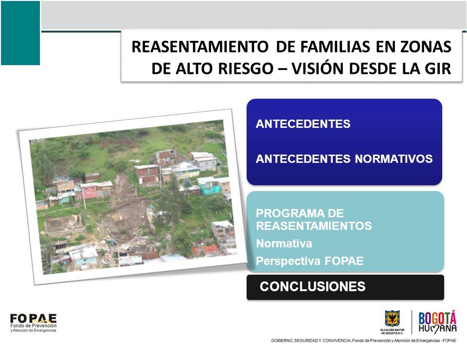 REASENTAMIENTO DE FAMILIAS EN ZONAS DE ALTO RIESGO – VISIÓN DESDE LA GIR