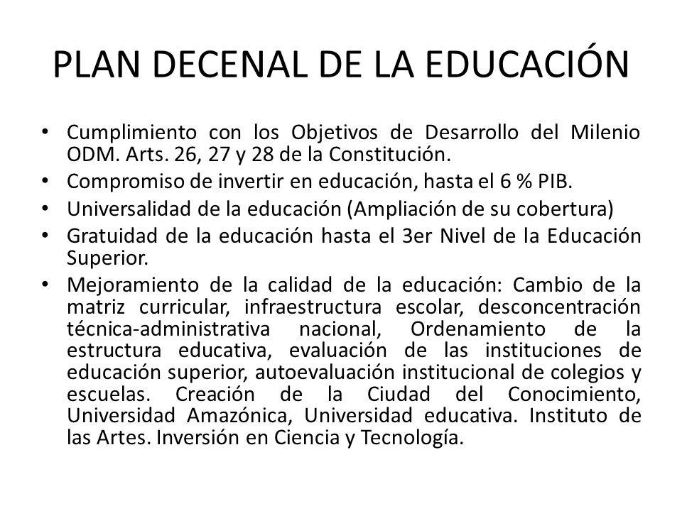 PLAN DECENAL DE LA EDUCACIÓN