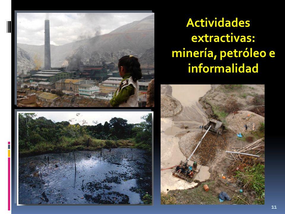 Actividades extractivas: minería, petróleo e informalidad