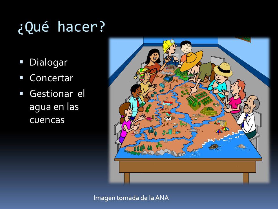 ¿Qué hacer Dialogar Concertar Gestionar el agua en las cuencas