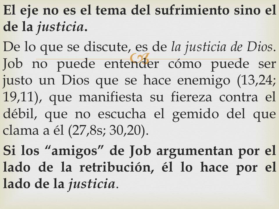 El eje no es el tema del sufrimiento sino el de la justicia