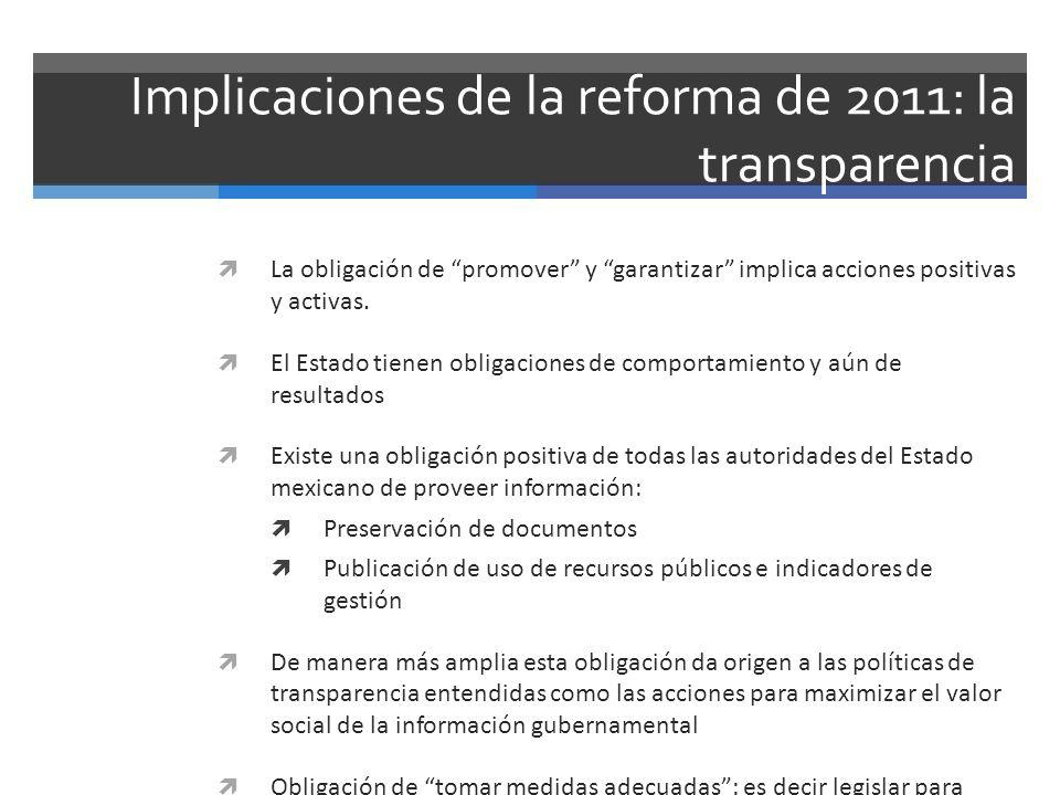 Implicaciones de la reforma de 2011: la transparencia