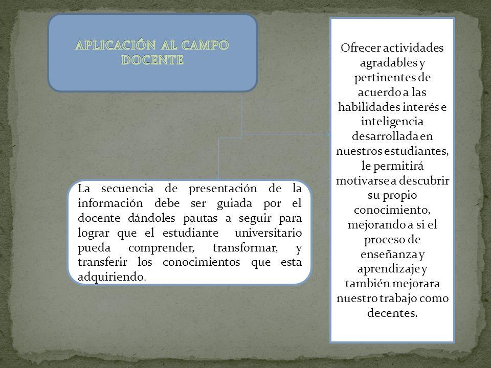 APLICACIÓN AL CAMPO DOCENTE