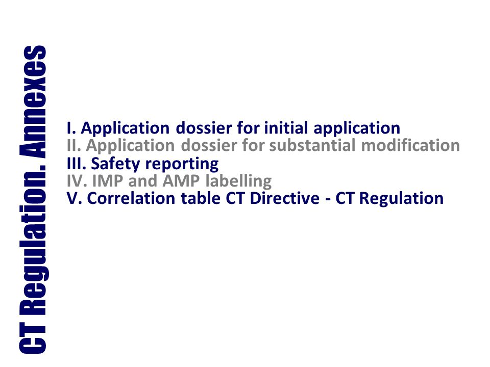 CT Regulation. Annexes I. Application dossier for initial application