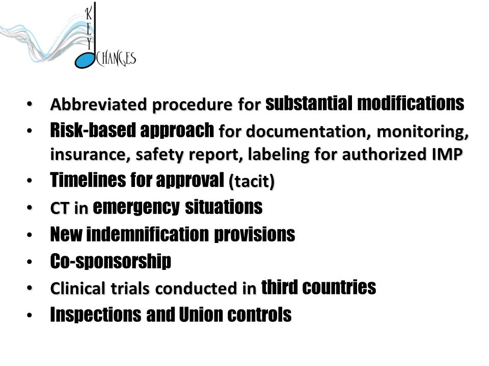 Abbreviated procedure for substantial modifications