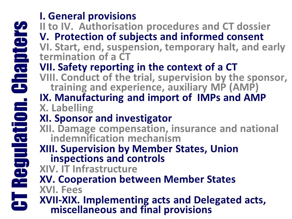 CT Regulation. Chapters