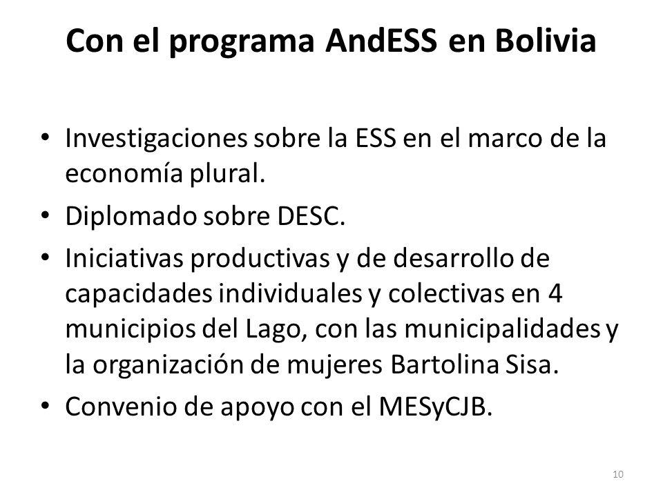 Con el programa AndESS en Bolivia