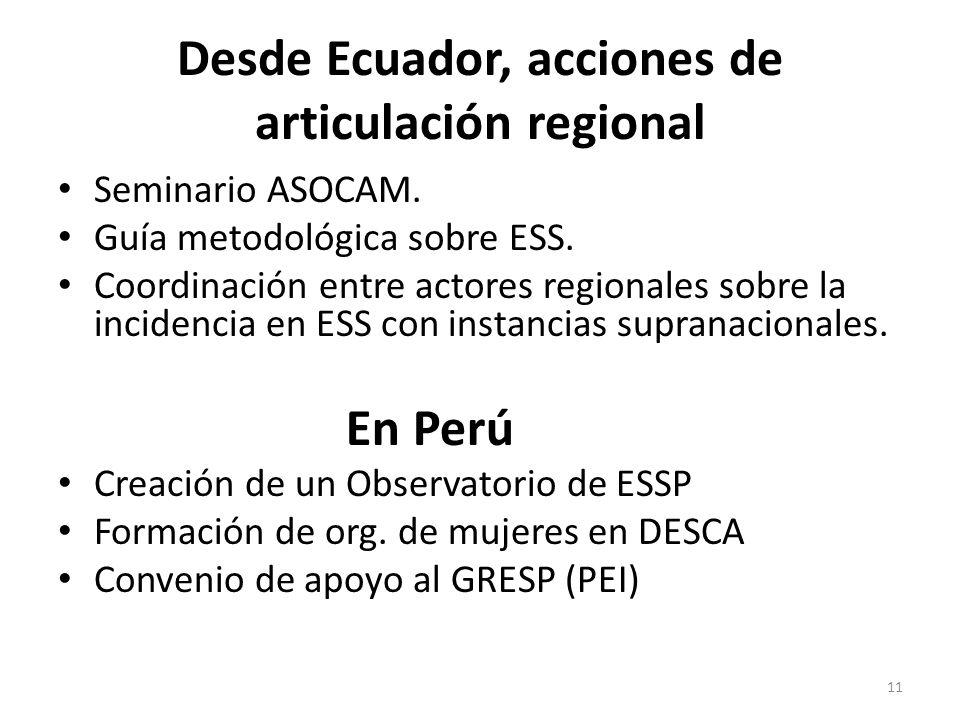 Desde Ecuador, acciones de articulación regional